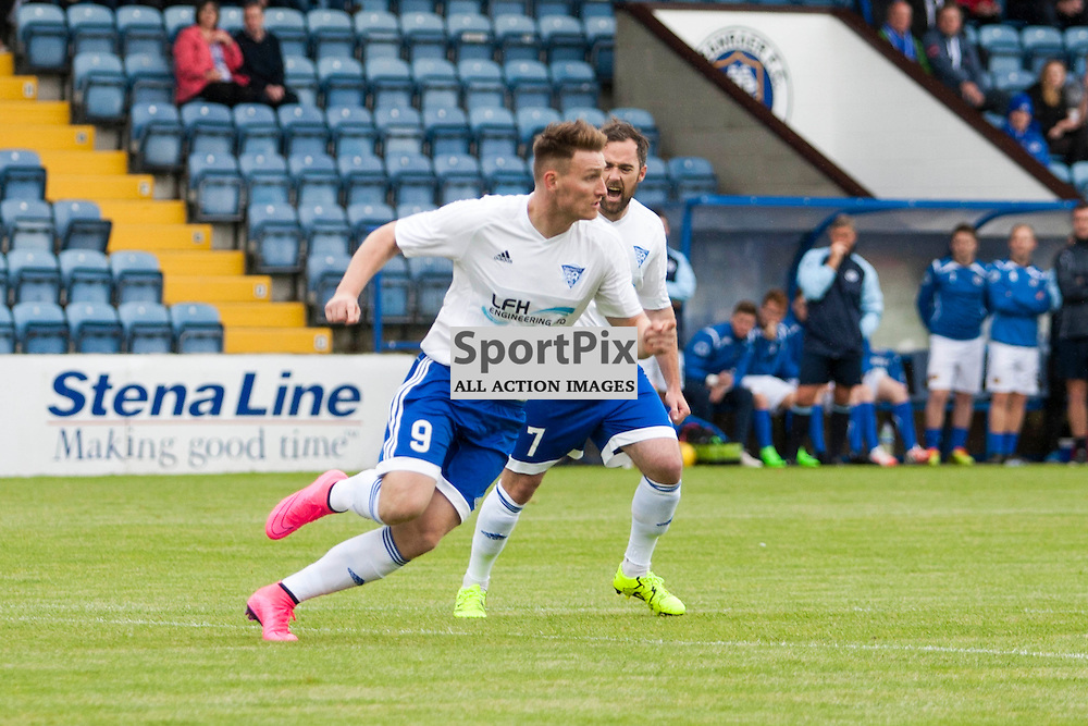 Rory McAllister (Peterhead 9) wheels away after opening the scoring in the Stranraer v Peterhead Ladbrokes SPFL Scottish Division 1 at Stair Park in Stranraer 15 August 2015<br />