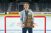 REGINA, SK - MAY 26: Scholastic Player of the Year Alexandre Alain of the Blainfille Boisbriand Armada at the Brandt Centre on May 26, 2018 in Regina, Canada. (Photo by Marissa Baecker/CHL Images)