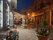 In the streets of Lipari at dusk, Liparic Islands, Italy