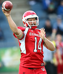 02.06.2014, UPC Arena, Graz, AUT, American Football Europameisterschaft 2014, Gruppe B, Daenemark (DEN) vs Frankreich (FRA), im Bild Kasper Skyum  Jensen, (Team Denmark, QB, #14) // during the American Football European Championship 2014 group B game between Denmark and France at the UPC Arena, Graz, Austria on 2014/06/02. EXPA Pictures © 2014, PhotoCredit: EXPA/ Thomas Haumer