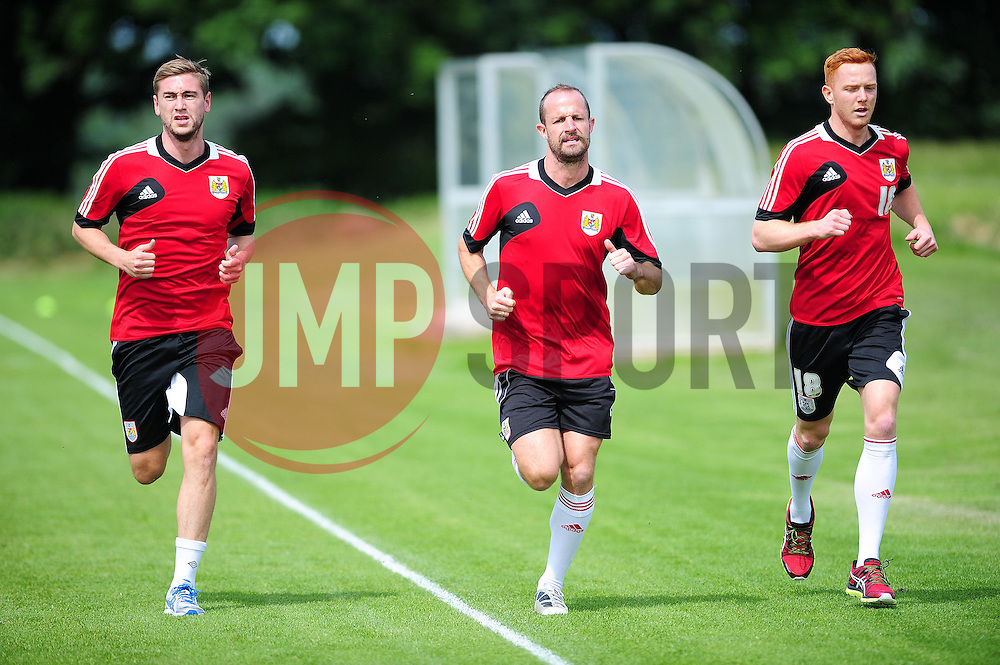 Bristol City's Steven Davies, Louis Carey and Stephen Pearson - Photo mandatory by-line: Dougie Allward/JMP - Tel: Mobile: 07966 386802 27/06/2013 - SPORT - FOOTBALL - Bristol -  Bristol City - Pre Season Training - Npower League One