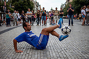 Fabian Duro - a football freestyler originally from Albania - performing at Wenceslas Square in Prague.