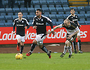 Dundee&rsquo;s Kane Hemmings and Aberdeen&rsquo;s Willo Flood  - Dundee v Aberdeen, Ladbrokes Scottish Premiership at Dens Park<br /> <br />  - &copy; David Young - www.davidyoungphoto.co.uk - email: davidyoungphoto@gmail.com