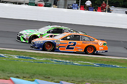 July 22, 2018 - Loudon, NH, U.S. - LOUDON, NH - JULY 22: (2) Brad Keselowski and (18) Kyle Busch in turn 4 during the Monster Energy Cup Series Foxwoods Resort Casino 301 race on July, 21, 2018, at New Hampshire Motor Speedway in Loudon, NH. (Photo by Malcolm Hope/Icon Sportswire) (Credit Image: © Malcolm Hope/Icon SMI via ZUMA Press)