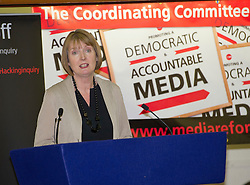 © Licensed to London News Pictures. 17/05/2012. London, UK. Labour MP Harriet Harman speaking at a rally for media reform organised by Hacked Off and the Co-ordinating Centre for Media Reform at Central Hall, Westminster, London on May 17, 2012. Photo credit : Ben Cawthra/LNP