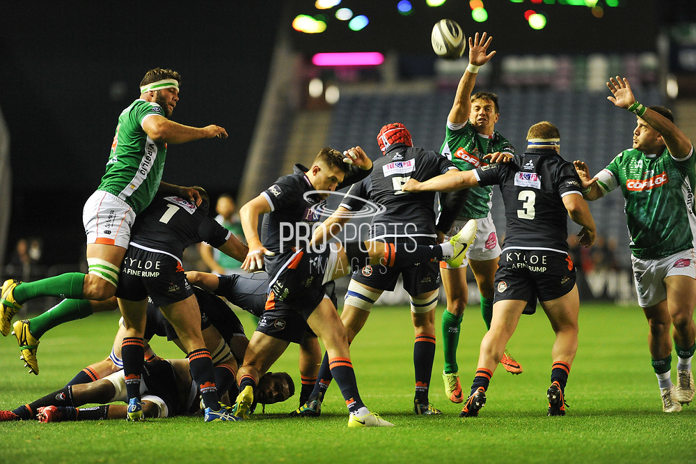 Henry Pyrgos clears the ball during the Guinness Pro 14 2018_19 match between Edinburgh Rugby and Benetton Treviso at Murrayfield Stadium, Edinburgh, Scotland on 28 September 2018.