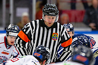 2020-01-22   Kallinge, Sweden: Referee Robin Karlsson during a faceoff during the game between Krif hockey and Halmstad Hammers at Soft Center Arena (Photo by: Jonathan Persson   Swe Press Photo)<br /> <br /> Keywords: kallinge, Ishockey, Icehockey, hockeyettan, allettan södra, soft center arena, krif hockey, halmstad hammers (Match code: krhh200122)