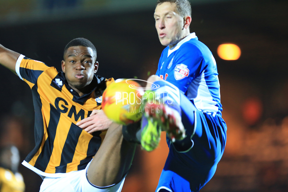 Jim McNulty, Uche Ikpeazu during the Sky Bet League 1 match between Rochdale and Port Vale at Spotland, Rochdale, England on 28 November 2015. Photo by Daniel Youngs.