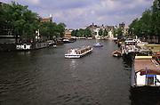 Amstel River; boats; Amsterdam; Netherlands; summer
