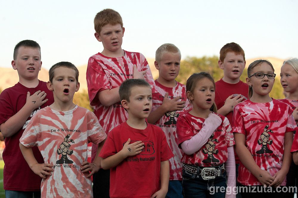 The Willowcreek Warriors sing the national anthem before the start of the Vale - Homedale football game, September 12, 2014 at Frank Hawley Stadium, Vale High School, Vale, Oregon.