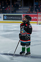 KELOWNA, CANADA - MARCH 2:  The Pepsi Player of the game stands on the ice at the against the Kelowna Rockets on March 2, 2019 at Prospera Place in Kelowna, British Columbia, Canada.  (Photo by Marissa Baecker/Shoot the Breeze)