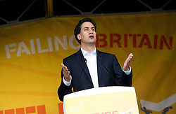 © London News Pictures. 20/10/2012. London, UK. Labour Leader Ed Miliband delivering a speech at a TUC (Trades Union Congress) rally in Hyde Park, London on October 20, 2012. Photo credit : Ben Cawthra /LNP