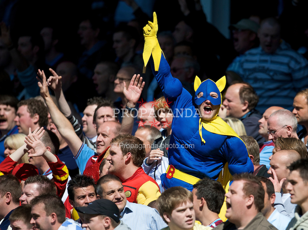 LIVERPOOL, ENGLAND - Saturday, May 16, 2009: West Ham United's  travelling supporters, dressed as superheroes celebrate Radoslav Kovac's opening goal during the Premiership match at Goodison Park. (Photo by David Rawcliffe/Propaganda)