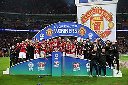 Manchester United lift the 2017 EFL Trophy - Mandatory by-line: Matt McNulty/JMP - 26/02/2017 - FOOTBALL - Wembley Stadium - London, England - Manchester United v Southampton - EFL Cup Final