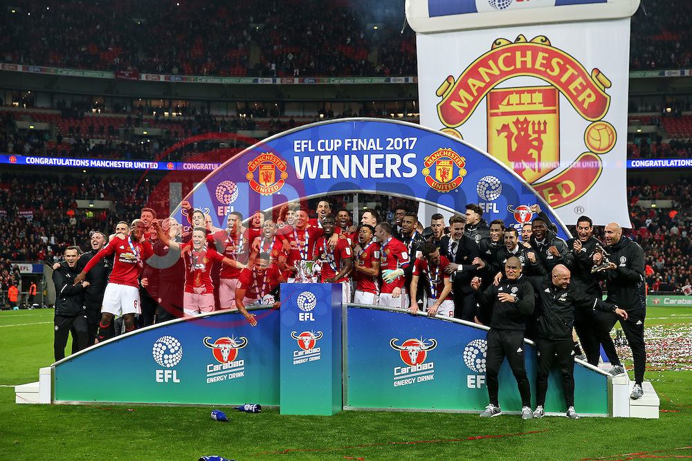 Manchester United lift the 2017 EFL Trophy - Mandatory by-line: Matt McNulty/JMP - 26/02/2017 - FOOTBALL - Wembley Stadium - London, England - Manchester United v Southampton - EFL Cup Final