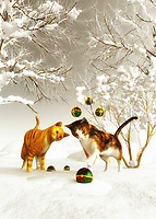 This charming scene of winter is certain to appeal to those who love Christmas. When we think about Christmas, we imagine scenes such as this one. A lovely Christmas ornament hangs from a tree. Two kittens stand before the ornament, fascinated by what they are looking at it. One of those kittens certainly seems as though it is going to reach out to slap that ornament! Perhaps someone has hung these ornaments from the tree. Available as cards, or as a variety of different home interior décor products.