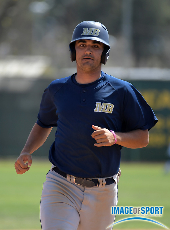 Cal State Monterey Bay Otters left fielder T.J. Dove during an NCAA College baseball game against the Cal  Poly Pomona Broncos in Pomona, Calif., Friday, April 13, 2018.
