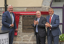 Canadian Ambassador to Ireland Kevin Vickers unveiling the Louisburgh / Louisbourg twinning plaque at the Market House Louisburgh with Michael Ring TD Minister for Rural and Community Development and Cllr Michael Holmes Cathaoirleach West Mayo Municipal Authority.<br /> Pic Conor McKeown