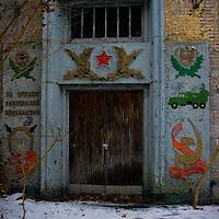 Doorway to old Soviet tanks barracks