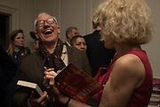 SIMON CALLOW; SALLY EMERSON;, The launch of Fire Child by Sally Emerson. Hosted by Sally Emerson and Naim Attalah CBE. Dean St. London. 22 March 2017