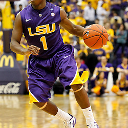 November 12, 2011; Baton Rouge, LA; LSU Tigers guard Anthony Hickey (1) against the Nicholls State Colonels during the second half of a game at the Pete Maravich Assembly Center. LSU defeated Nicholls State 96-74.  Mandatory Credit: Derick E. Hingle-US PRESSWIRE