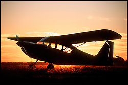 A Citabria 7KCAB at sunset, Elkhart Municipal Airport, Elkhart, IN.