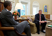 18.JUNE.2012. WASHINGTON D.C.<br /> <br /> PRESIDENT BARACK OBAMA IS BRIEFED BY AGRICULTURE SECRETARY TOM VILSACK ON THE ADMINISTRATION?S EFFORTS TO RESPOND TO THE HISTORIC DROUGHT CONDITIONS BEING FELT ACROSS THE COUNTRY, DURING A MEETING IN THE OVAL OFFICE, JULY 18, 2012.  <br /> <br /> BYLINE: EDBIMAGEARCHIVE.CO.UK<br /> <br /> *THIS IMAGE IS STRICTLY FOR UK NEWSPAPERS AND MAGAZINES ONLY*<br /> *FOR WORLD WIDE SALES AND WEB USE PLEASE CONTACT EDBIMAGEARCHIVE - 0208 954 5968*