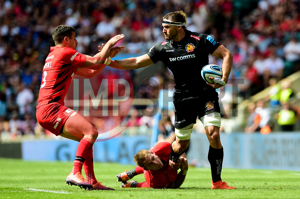 Don Armand of Exeter Chiefs is challenged by Liam Williams of Saracens - Mandatory by-line: Ryan Hiscott/JMP - 01/06/2019 - RUGBY - Twickenham Stadium - London, England - Exeter Chiefs v Saracens - Gallagher Premiership Rugby Final