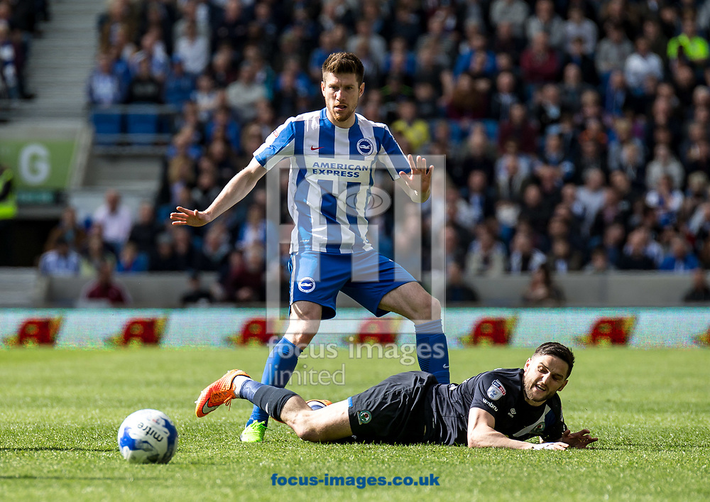 Craig Conway of Blackburn Rovers and Sebastian Pocognoli of Brighton &amp; Hove Albion during the Sky Bet Championship match at the American Express Community Stadium, Brighton and Hove<br /> Picture by Liam McAvoy/Focus Images Ltd 07413 543156<br /> 01/04/2017