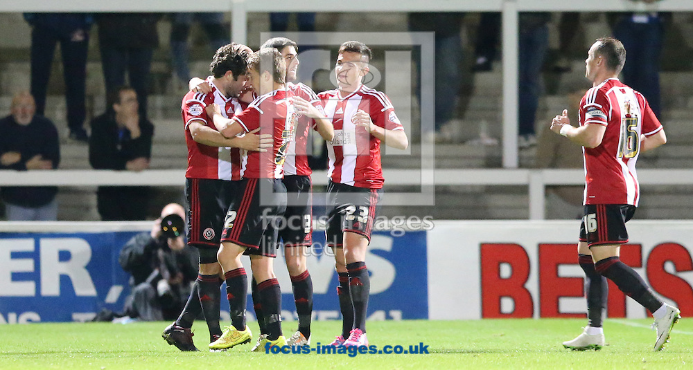 Sheffield United celebrate scoring the opening goal during the Johnstone's Paint Trophy match at Victoria Park, Hartlepool<br /> Picture by Simon Moore/Focus Images Ltd 07807 671782<br /> 07/10/2014