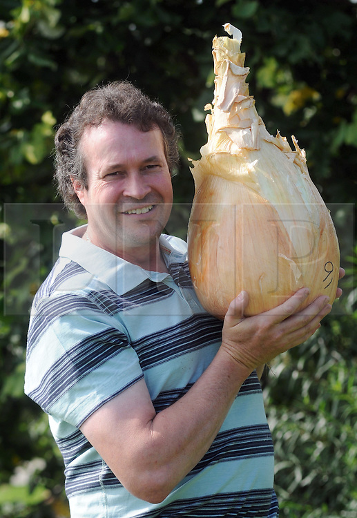 Licensed to London News Pictures 16/09/14<br /> Tony Glover of Shorthatch, Derbyshire, England, with his world record onion.  It weighs 18 pounds 11 1/5 ounces.  He is photographed at the autumn Harrogate Flower Show Photo Credit: Sam Atkins/LNP