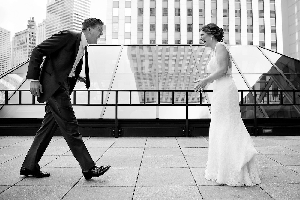 Ryan Schoonover and Kelli Gottschalk see each other for the first time on their wedding day in Chicago, Friday, Sept. 5, 2014. Photo by Justin Edmonds | www.jcedmonds.com