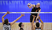 Princeton Tigers middle blocker Billy Andrew (1) hits the ball against the Pepperdine Waves during an NCAA Championships opening round match, Wednesday, April 30, 2019, in Long Beach, Calif. Pepperdine defeated Princeton 25-23, 19-25, 25-16, 22-25, 15-8.