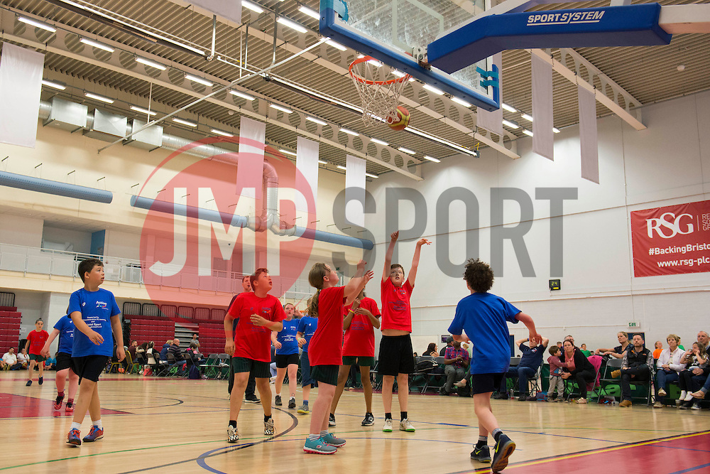 Children participate in Basketball during the Bristol Sport Youth Festival  - Photo mandatory by-line: Dougie Allward/JMP - Mobile: 07966 386802 - 06/06/2015 - SPORT - Multi-Sport - Bristol - SGS Wise Campus - Bristol Sport Festival Of Youth Sport - Festival Of Youth