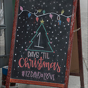Pink Olive West Village Blackboard Christmas sign.<br /> &quot;1 day before Christmas # 12 DAYS OF lOVE.&quot;