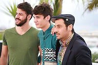 Nikos Gelia, Kostas Nikouli and director Panos Koutras at the photo call for the film Xenia at the 67th Cannes Film Festival, Monday 19th May 2014, Cannes, France.