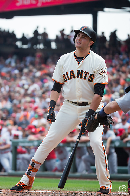 San Francisco Giants first baseman Ryder Jones (63) reacts to striking out against the St. Louis Cardinals at AT&T Park in San Francisco, California, on September 3, 2017. (Stan Olszewski/Special to S.F. Examiner)