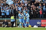 Rhe Sky Blues celebrate after scoring a goal to make it 0-2 during the EFL Sky Bet League 2 match between Notts County and Coventry City at Meadow Lane, Nottingham, England on 18 May 2018. Picture by Jon Hobley.