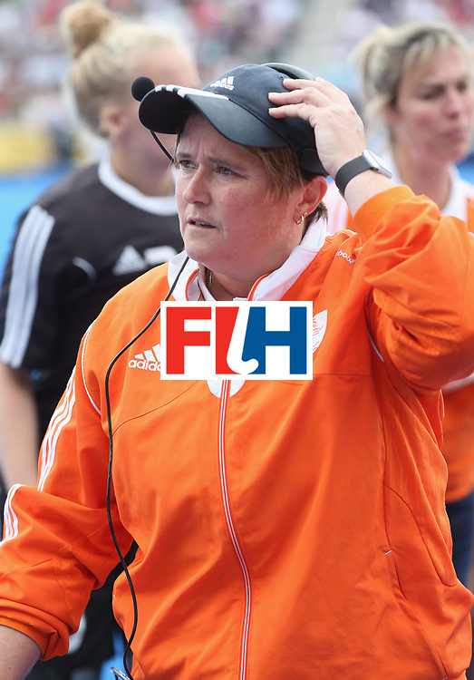 LONDON, ENGLAND - JUNE 19:  Netherlands coach Alyson Annan during the FIH Women's Hockey Champions Trophy match between Netherlands and Great Britain at Queen Elizabeth Olympic Park on June 19, 2016 in London, England.  (Photo by Alex Morton/Getty Images)