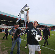 Cammy Kerr with the trophy - Dundee v Dumbarton, SPFL Championship, Helicopter Saturday at Dens Park<br /> <br />  - &copy; David Young - www.davidyoungphoto.co.uk - email: davidyoungphoto@gmail.com