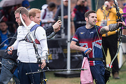 Prince Harry takes a photo of British archer Kieran David Wood as he attends the Archery finals of the Invictus Games in Toronto, ON, Canada, on Friday September 29, 2017. Photo by Chris Young/CP/ABACAPRESS.COM