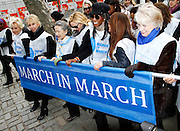 Cindy McCain, Trudie Styler, Ban Soon-taek, Kim Cattrall, Naomi Campbell and Muna Rihani Al-Nasser attend the March To End Violence Against Women at the United Nations Headquarters in New York City, New York on March 07, 2014.
