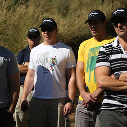 THURSDAY 13TH MAY 2010 / DURBAN SOUTH AFRICA<br /> Jean Deysel with John Smit Ryan Kankowski  and John Plumtree Head Coach<br /> during the Sharks  off road for the Land rover Experience