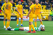 Christopher Jullien (#2) of Celtic FC falls to the ground and holds his head after missing a golden chance during the Ladbrokes Scottish Premiership match between Livingston FC and Celtic FC at The Tony Macaroni Arena, Livingston, Scotland on 6 October 2019.