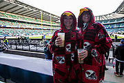 Arizona Cardinals Fans enjoying their pre match beers before kick off during the International Series match between Arizona Cardinals and Los Angeles Rams at Twickenham, Richmond, United Kingdom on 22 October 2017. Photo by Jason Brown.