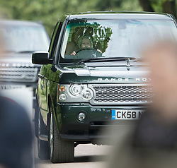 WINDSOR-  UK -  13th May 2017: HM The Queen drives herself to watch the carriage driving championship at the Royal Windsor Horse Show held in the grounds of Windsor Castle in Berkshire. <br />  Photo by Ian Jones