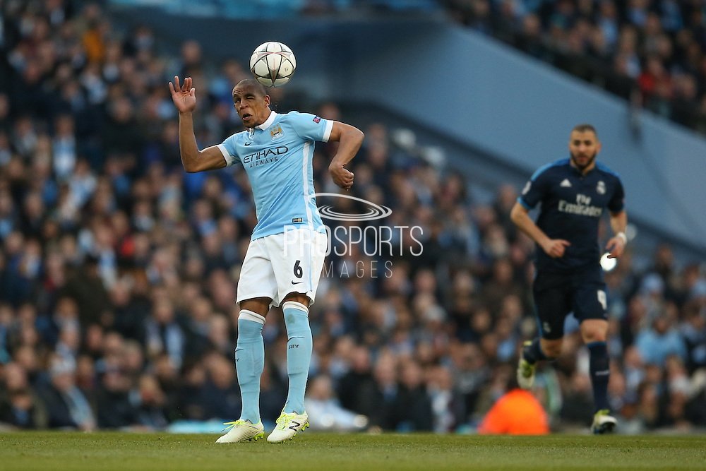 Manchester City midfielder Fernando (6)  heads the ball  during the Champions League match between Manchester City and Real Madrid at the Etihad Stadium, Manchester, England on 26 April 2016. Photo by Simon Davies.