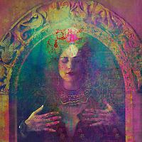 Temple priestess bringing in light.