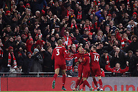 Football - 2019 / 2020 Premier League - Liverpool vs. Manchester City<br /> <br /> Liverpool fans celebrate the second goal scored by Mohamed Salah, at Anfield.<br /> <br /> COLORSPORT/PAUL GREENWOOD