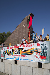 May 9, 2018 - Berlin, Germany - People commemorate on the 73rd anniversary of the victory of the Soviet Red Army over Nazi Germany at the Soviet World War II cemetery and memorial in Treptow on May 9, 2018 in Berlin, Germany. (Credit Image: © Emmanuele Contini/NurPhoto via ZUMA Press)